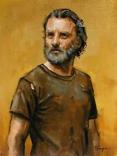 portrait of rick grimes from the walking dead original oil painting by j payne