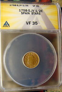 1758-S SPAIN JV--1/2 Gold Escudo--Spain Stars---ANACS VF35