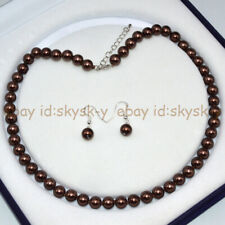 Round Beads Necklace Earrings Set 18'' Brown 8mm South Sea Shell Pearl
