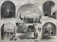 The Chicago River Tunnel. Wood Engraving, 1869.