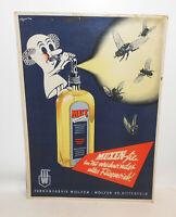 Altes Pappschild Mux Fliegen Tod Farbenfabrik Wolfen Kr. Bitterfeld um 1950 !