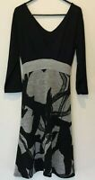 Lily Whyt Black & Grey 3/4 Sleeve Lined Dress with Tie Back Size 10
