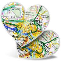 2 x Heart Stickers 15 cm - Mante-la-Jolie France French Travel Map  #45673