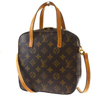 Auth LOUIS VUITTON Spontini 2Way Hand Bag Monogram Leather Brown M47500 79BQ800
