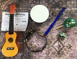 Lot Of Musical Instruments Ukulele Drum Tambourine Maraca Recorder