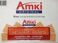 36 Pks, 1.25 OZ /PK,Amki Sesame Snaps,Cholesterol Free,GlutenFree,Free Shipping