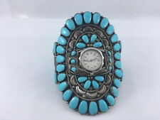 Native American Sterling Silver and Turquoise Watch Statement Piece Ladies