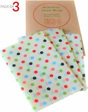 3 Pack Set Natural Reusable Beeswax Food Wrap Paper Bees Wax Small Medium Large