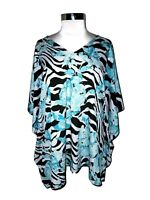 CHICO'S Size L XL Blouse Shirt Top Black Blue White Floral 3/4th Sleeve