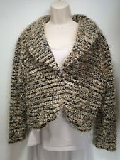 Venezia Gold and Black Fluffy Long Sleeve Button Up Cardigan - Size 16 (456)