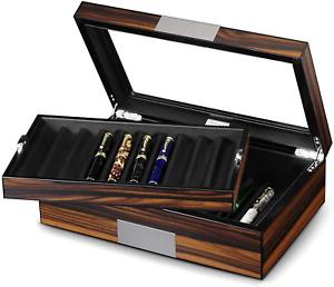 Lifomenz Co Pen Display Box Ebony Wood Pen Display Case,Fountain Pen Storage Pen