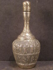 Antique Silver Persian King Figure Relief Portrait Decorated Perfume Oil Bottle~