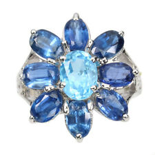 Oval Swiss Blue Topaz Kyanite White Gold Plate 925 Sterling Silver Ring Size 7
