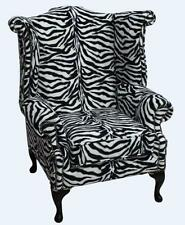 Chesterfield Saxon Queen Anne High Back Wing Chair Zebra Animal Print Velvet