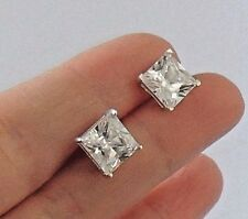 925 STERLING SILVER SQUARE WHITE CUBIC ZIRCONIA BUTTERFLY STUDS size 8 x 8 mm