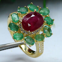 NATURAL 7 X 9 mm. OVAL RED RUBY & GREEN EMERALD RING 925 STERLING SILVER