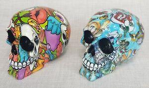 Skull Head Halloween Colour Art Hippy Ornament Statue Sculpture Set/2 *15 cm*