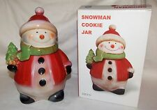 Ceramic Snowman Cookie Jar w/ Red Coat & Hat Holding Christmas Tree - 9 1/2""
