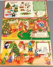 Walt Disney Productions Christmas Holiday Cards 70s Set of 3 Metropolitan Co VTG