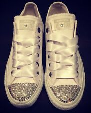 SWAROVSKI ELEMENTS CONVERSE CLEAR CRYSTALS-All White-Low Tops-Women's 5