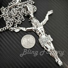 "Iced Hip Hop Large Jesus Whole Body Pendant w/ 6mm 36"" Cuban Chain Necklace"