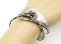 ORB 925 Sterling Silver - Vintage Modernist Designed Cuff Bracelet - B6499