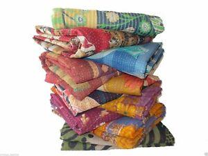 Indian Vintage Cotton Kantha Quilt Handmade Bedspreads Boho Decor Gudari Blanket