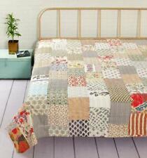 Vintage-Handmade-Patchwork-Quilt-Blanket-Bedspread-Bedding- Kantha-Quilt