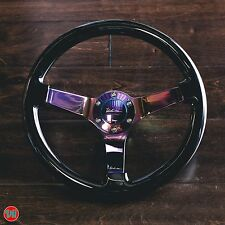 "VIILANTE 2"" DISH 6-HOLE BLACK STEERING WHEEL NEO-CHROME SPOKE FITS NISSAN 350z"