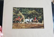 Fox Hunting Art print mounted 10 x 12 Horses Hounds