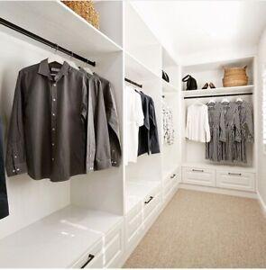 900mmx30mm Wardrobe Rail Aluminium Silver Anodized Oval, hangs clothes