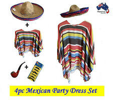 Mexican Poncho & Sombrero Hat Party Fancy Dress Cowboy Bandit Fiesta Costume
