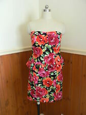 PRE LOVED JV SELECTION AUSTRALIA LADIES SIZE 10 STRAPLESS DRESS  FLORAL PEPLUM