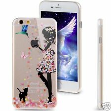 Luxury Case For Apple iPhone 6 4.7 Silicone Soft Back Cover Girl with Bird