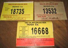 Pennsylvania Antlerless Deer Licenses (3): Tioga (1991) & Berks (1994 & 2000)