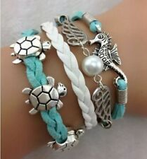 Fashion Leather Braided Turtle Pearl Charm Bracelet Jewelry Silver US SELLER