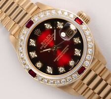 Rolex Lady President 18k 26mm Watch-Red Vignette Diamond Dial-Ruby/Diamond Bezel