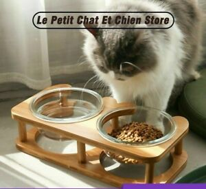 Drinking And Feeding Bowl For Pets Double Glass Bowl With Elevated Wood Stand De