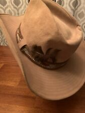 "Vintage Resistol ""Larry Mahan Geronimo"" Cowboy Hat Tan Suede 7 3/8-7 1/2 Large"