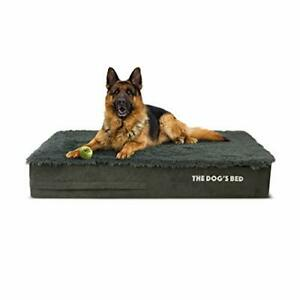The Dog's Bed Orthopaedic Dog Bed Large Grey Faux Fur 101x64x15cm, Waterproof