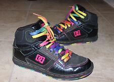 DC Shoes Girl High top Black multi-color lace Sneaker Shoes Sz: 7