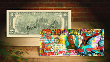 SPIDERMAN Homecoming Amazing Fantasy Genuine $2 Bill SIGNED Rency ART SPIDER-MAN