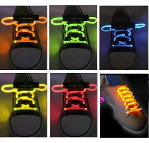 FIBER OPTIC LED SHOE LACES NEON GLOW IN THE DARK STICK GADGET RAVE PARTY FUN DJ