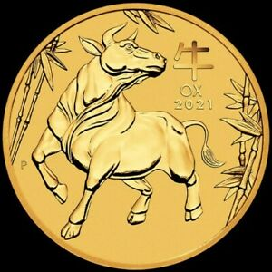 Lunar 3 OX 1/4 oz GOLD 2021 BU $25 Australia  Perth Mint