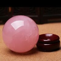 Natural Pink Rose Quartz Magic Crystal Healing Ball Sphere 30-35MM Stand Mineral