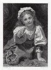 "Adorable 1800s PIERRE DE CONINCK Engraving ""Strawberry Girl"" FRAMED Signed COA"