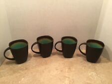 Better Homes And Gardens Set 4 Jade Interior Square Coffee Mugs Cups Turquoise