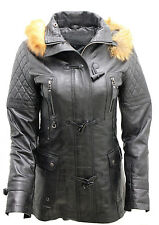 Women's Detachable Hood Quilted Black Leather Parka Jacket 24