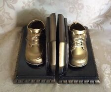 Vintage Faux Bronzed Baby Shoes Copper Book Ends Nursery Decor Bronze Look