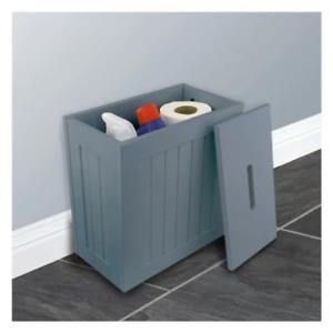 FabFinds Storage Box Bath Caddy Grey Wooden Bathroom Multi-purpose